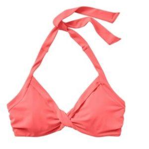 Athleta Bra Cup Halter Bikini Top Coral Flash 40BC